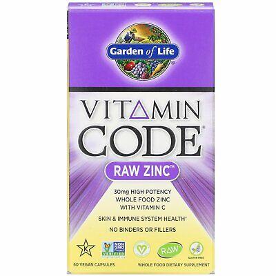 Garden of Life Vitamin Code Raw Zinc 60 Veggie Caps Gluten-
