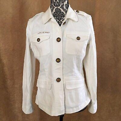 M Ralph Lauren Jean Co Military style jacket cotton women coat off white ivory