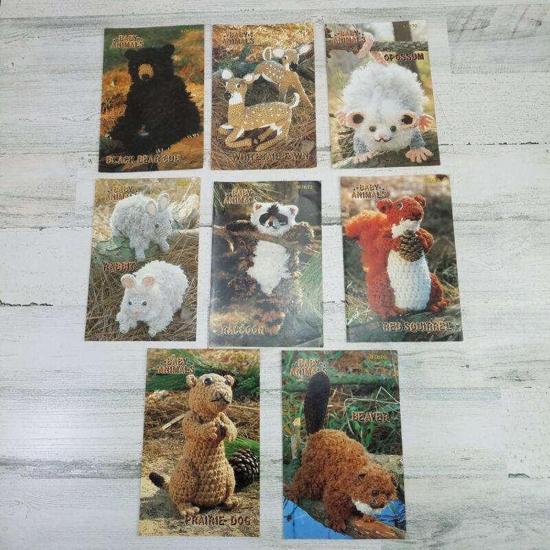 Annies Attic Baby Animal Crochet Patterns Lot Of 8 Vintage 1984