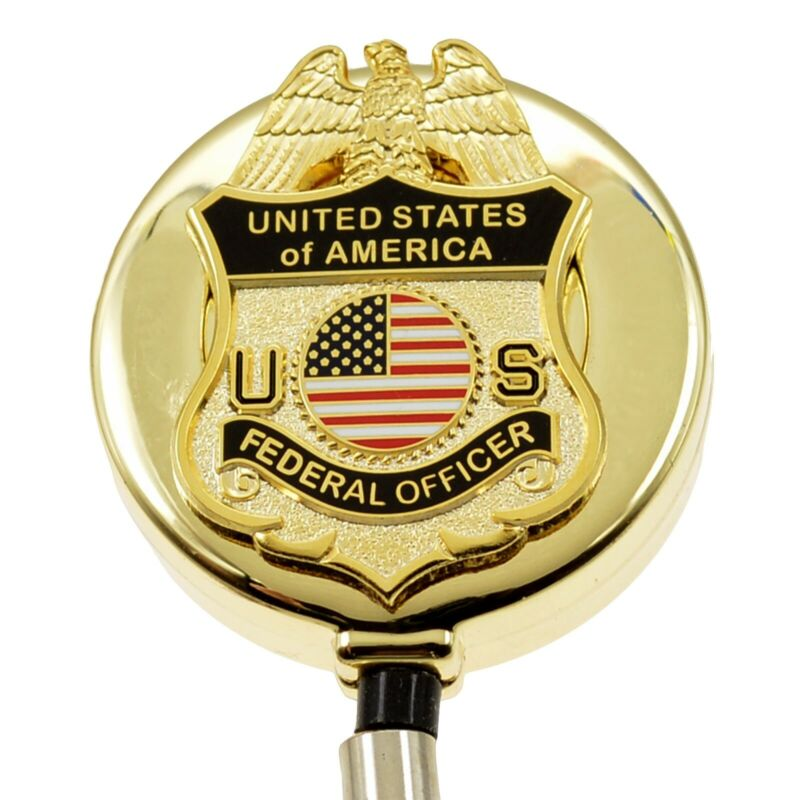 US Federal Officer Badge Reel Retractable ID Card Security Card Holder Lanyard