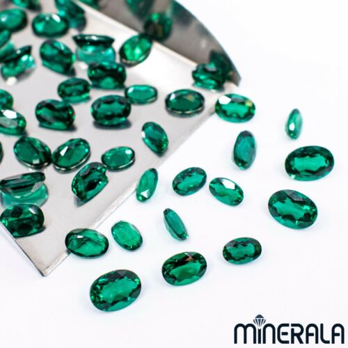 LAB GROWN ZAMBIA EMERALD GEMSTONE OVAL FACETED LOOSE VARIOUS SIZE WP02732