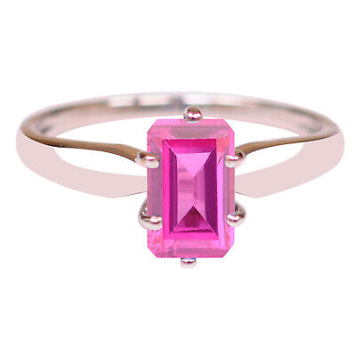 2.00 Carat Natural African Pink Tourmaline Octagon Cut Ring In 14KT White Gold