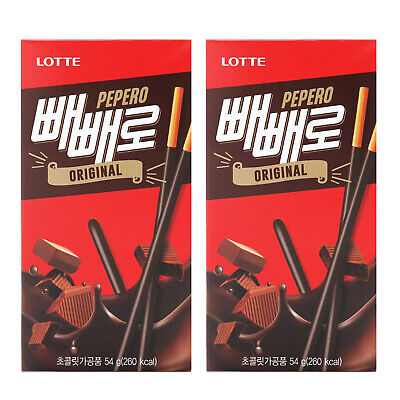Korean Snack LOTTE PEPERO ORIGINAL 54g x 2Pack Choco Chocolate Stick