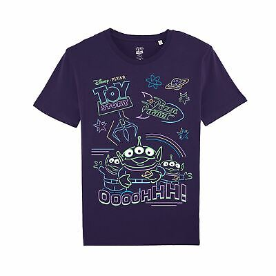 Disney Toy Story 4 Neon Little Green Men Men's Purple T-Shirt