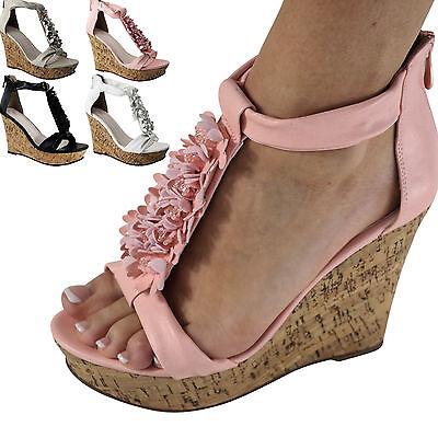 Damen Sandalen Keilabsatz Wedge Sandaletten Blumen HIgh Heels neu ST702 High Heel Damen Wedge Heels