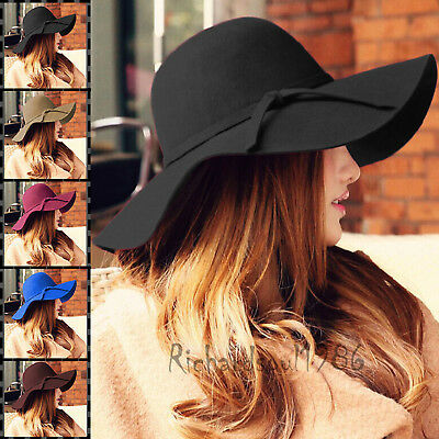 US New Fashion Women Ladies Floppy Wide Brim Wool Felt Bowler Beach Hat Sun Cap  Beach Sun Floppy Hat