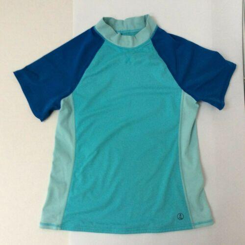 Lands End Boys Girls Rash Guard Swim Shirt Size 14 Blue Short Sleeve