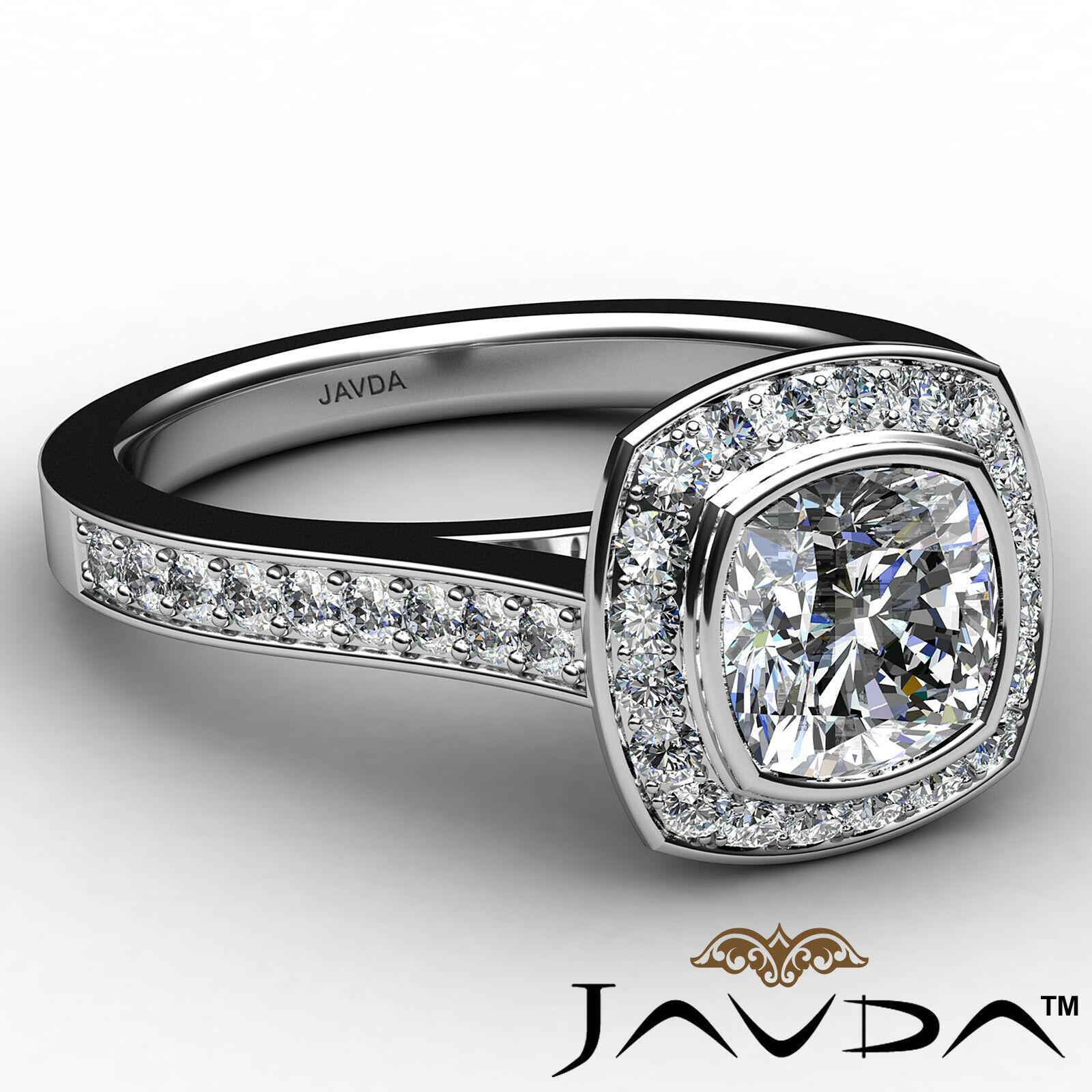 Micro Halo Cushion Diamond Engagement Ring GIA H Color & VS1 clarity 1.4 ctw 6