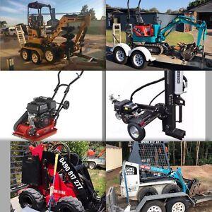 Mini excavator hire $185 p/d ph:Diy Mini Diggers Qld auger delivery