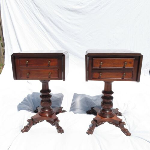 Pair American Empire Carved Mahogany Two Drawer Night Stands Drop Leaf Antique