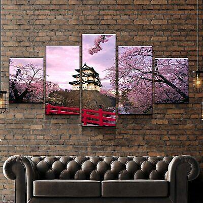 - Cherry Blossom Japan Castle 5 panel canvas Wall Art Home Decor Poster Print