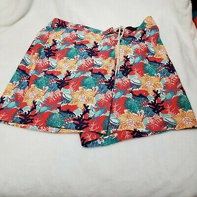Nautica swim trunks board shorts elastic back size XL reef fish crab