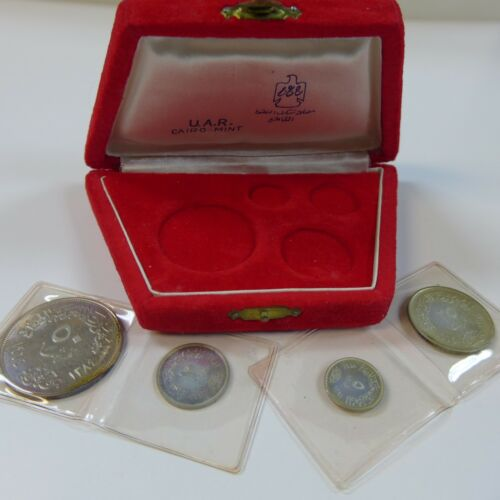 1964 Egypt Silver 4 Coin Proof Set - Rare U.A.R. Item - Diversion of the Nile