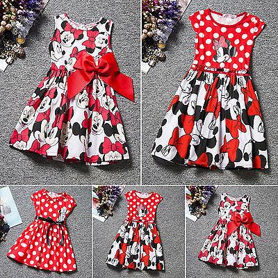 Baby Mädchen Karikatur Kleid Minnie Mouse Princess Festlich Disney Party Kleider