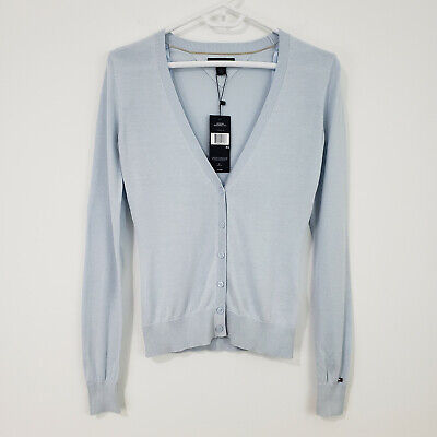 NWT Tommy Hilfiger Women's Cardigan Sweater XS Silk Cotton Blend Blue Button Up