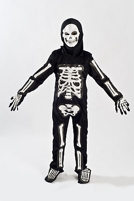 Boys Skeleton Halloween Costume Kids Fiber Optic Size 5-6, 7-9  Child Light up - Kids Skeleton Halloween Costumes