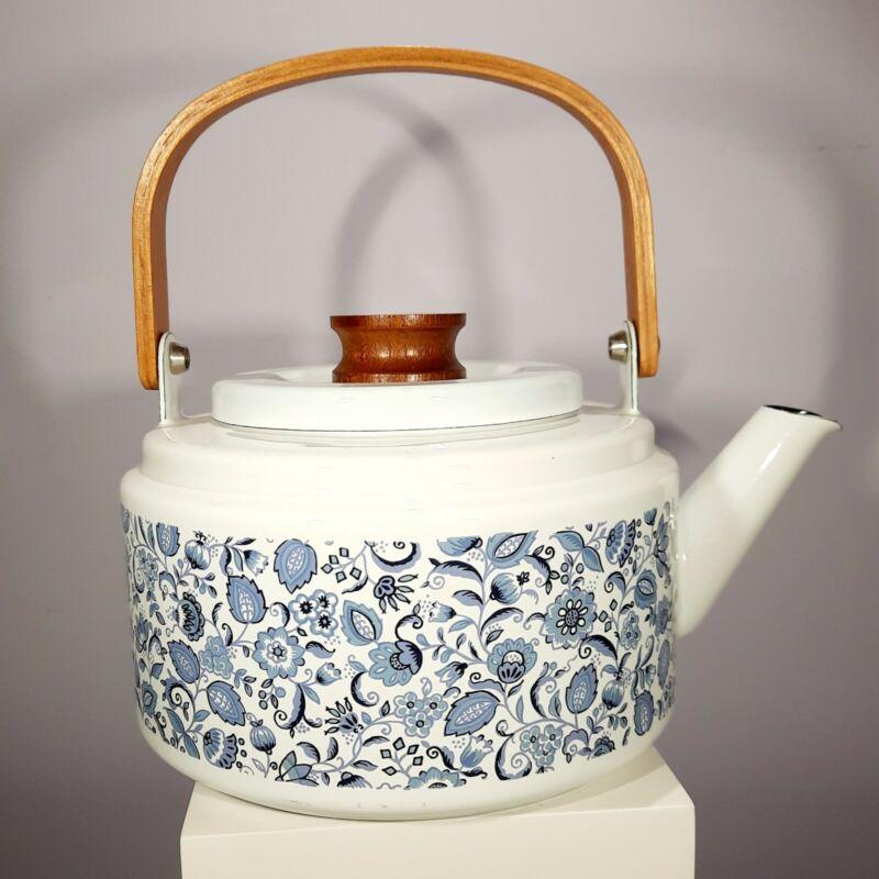 Vintage Enamel White & Blue Onion Floral Tea Pot Kettle With Wood Handle