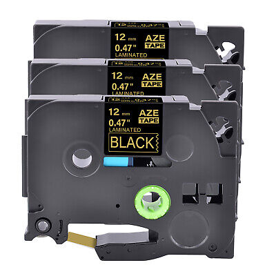 3pk 12mm Gold On Black Label Tape For Brother Tz Tze-334 P-touch Pt-d400 Pt-d600