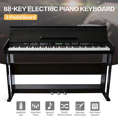 Classic 88 Key Music Electric Digital LCD Piano Keyboard w/Stand+3 Pedal Board