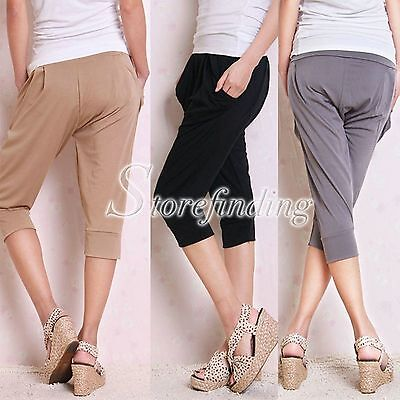 SALE Grey Knee Length Ice Silk One Size Loose Trousers Sports Women's Gym Gift