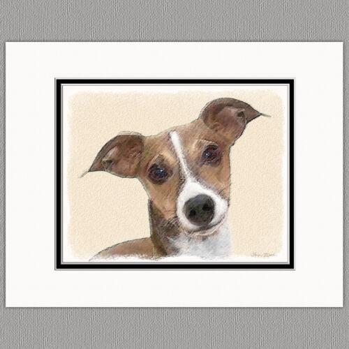 Italian Greyhound Dog Original Art Print 8x10 Matted to 11x14