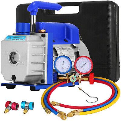 3 Cfm Air Vacuum Pump Hvac Ac Refrigeration Kit Manifold Gauge Set R134a