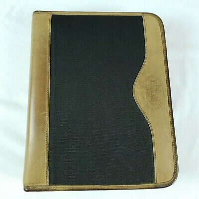 Franklin Quest Covey 7 Ring Planner Black Fabric Brown Leather Trim Zipper Vtg