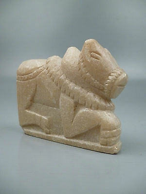Antique Indian Nandi Bull of Shiva Soapstone figure - Sculpture from Estate - VR