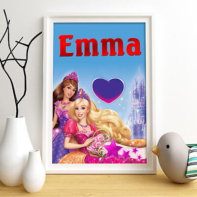 BARBIE PRINCESS Personalised Poster A5 Print Wall Art Any Name✔ Fast Delivery✔