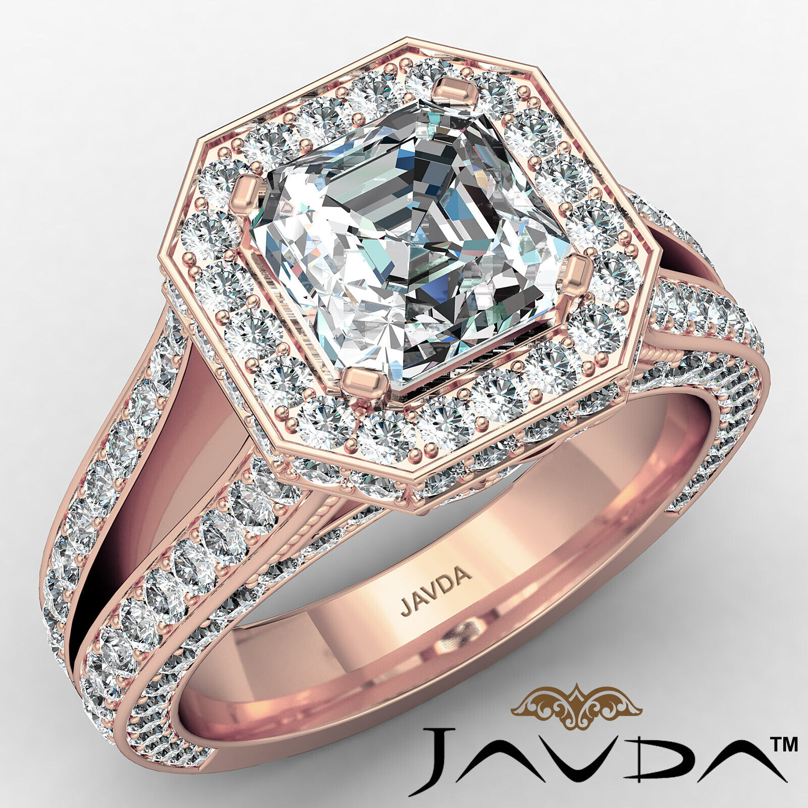 Halo Asscher Diamond Engagement Ring GIA Certified G Color & SI2 clarity 2.4 ctw 2