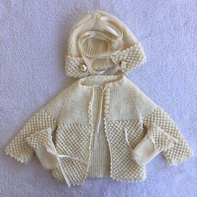 Knit Hat Mittens (Vintage Knit Baby Sweater Hat Mittens Cream)