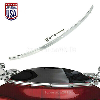 Chrome Billet Windshield Trim Fit For Harley Touring FLHTCU Tri Glide 2014-2020