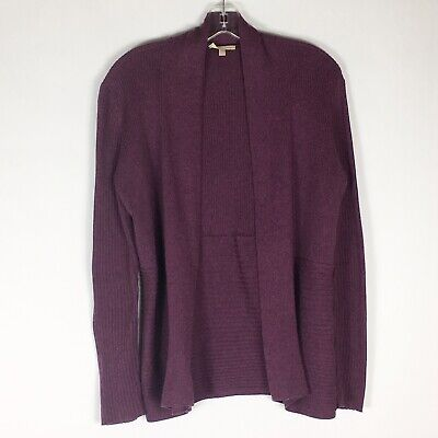 Eileen Fisher Size S Small Purple Ribbed Organic Cotton Cardigan Sweater