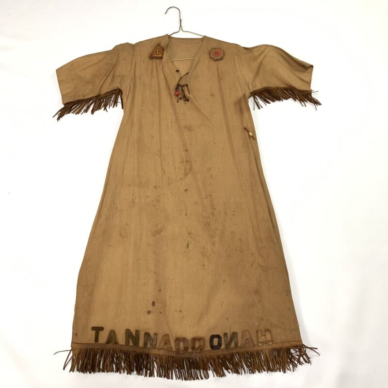 Vtg Old Camp Fire Girls Leather Fringed Ceremonial Outfit Dress Tannadoonah