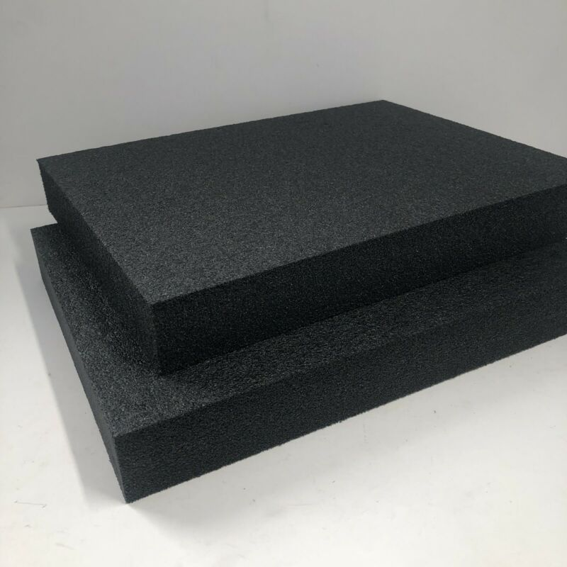 2LB Black 2 x 12 x 16  POLYETHYLENE PLANK FOAM, Density 2LB Pcf. BLACK 2 Pieces
