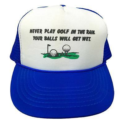 VINTAGE - Funny Humor GOLF - BLUE - Snapback Trucker Hat Cap - Rain - WET BALLS (Funny Golf Hat)