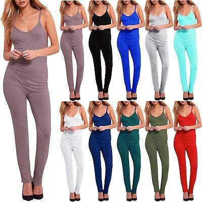 Ladies Strappy All in One Cami Playsuit Womens Plain Jersey Sleeveless Jumpsuit