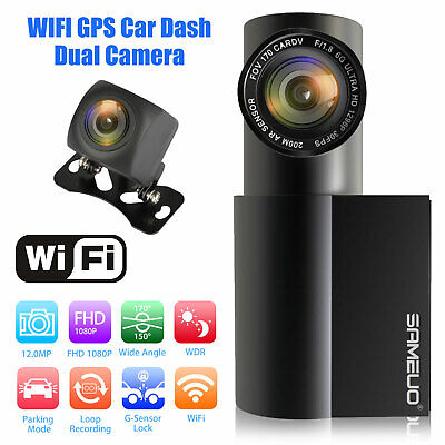 WIFI GPS Dual Dash Cam IR Night Vision Front & Rear Camera Car Driving Recorder