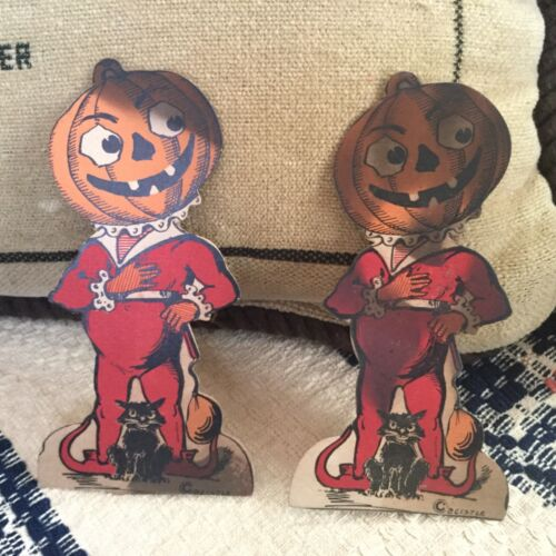 RARE! Pair 1920's ANTIQUE BEISTLE DIECUT - PUMPKIN Stand-up Cards