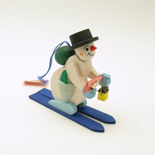 Christmas Ornament Snowman on Skis Erzgebirge Germany