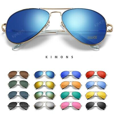 Polarized Sunglasses Aviator Men Women Vintage color Mirrored Metal (Polarised Sunglasses For Women)