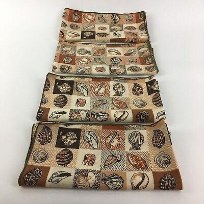 4 VTG Cloth Linen Napkins Set 70s Brown Seashells Mid Century Mod Autumn Fall