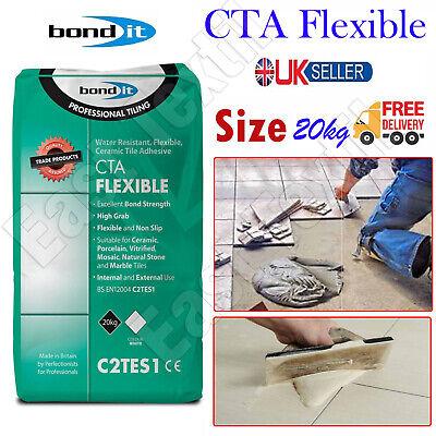Bond It CTA Flexible Tile Adhesive White Cement Ceramic Floor Wall Non Slip 20kg
