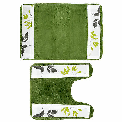 Popular Bath Mayan Leaf Sage Bathroom Banded Bath & Contour Rug Set Bath