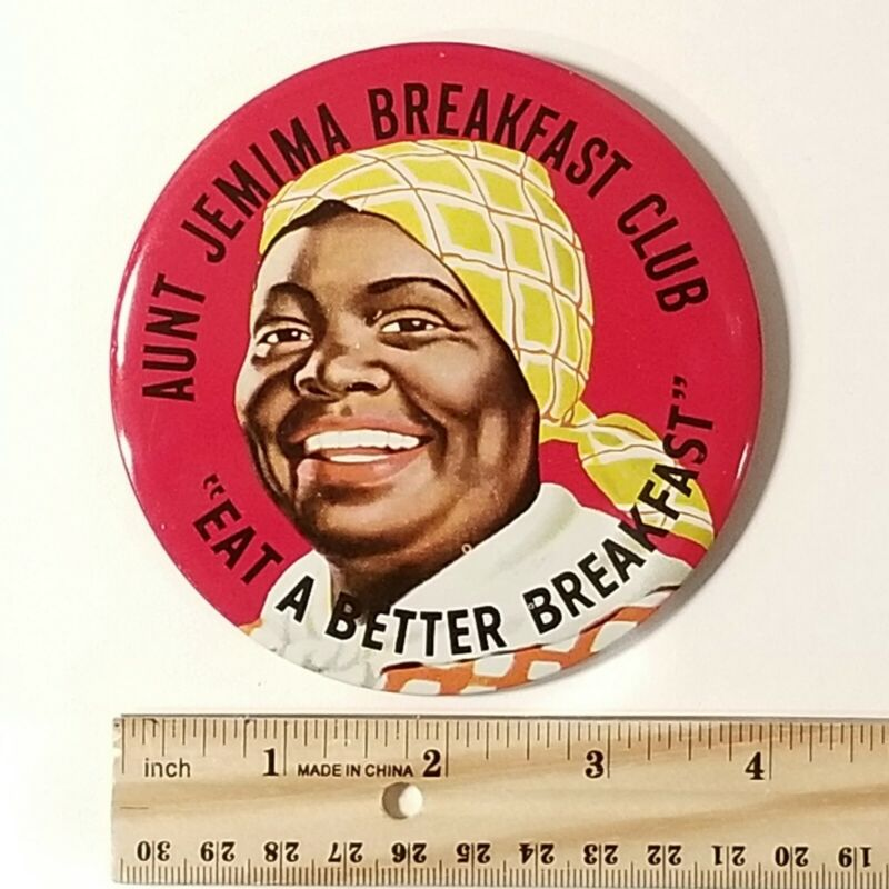 """Vintage 4"""" Pancake Syrup Breakfast Club Pin Back Button, Green Duck Co"""