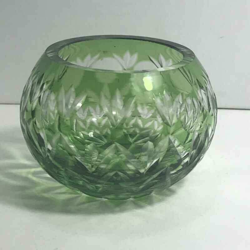 Green Cut To Clear Glass Rose Bowl Votive Holder