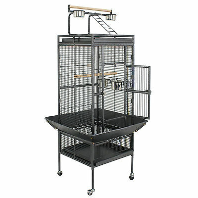 "61"" Iron Wire Large Bird Aviary Cage Parrot Cockatiel Cockatoo Parakeet Play Top"