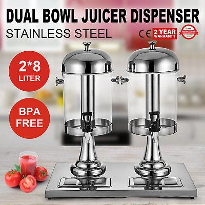 4.2gallon Juice Beverage Dispenser Cold Drink 2x8l Stainless Steel