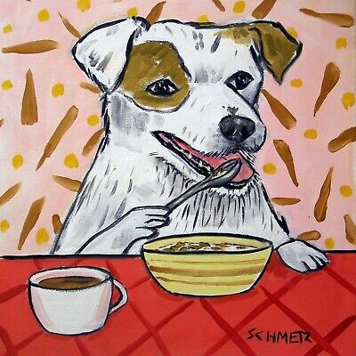 JAck Russell Terrier  dog art tile coaster  kitchen breakfast art modern folk for sale  Shipping to Canada