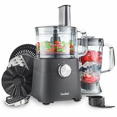 VonShef 750W Food Processor Blender Chopper Juicer Mixer 2 Speeds & Pulse